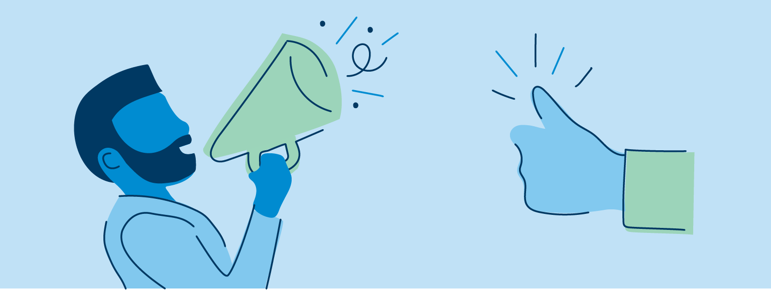 illustration of man using a megaphone and thumbs up