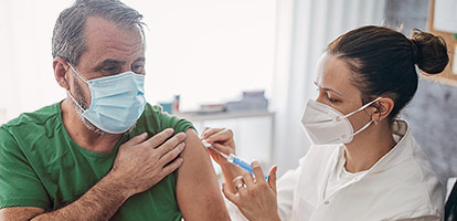 Patient receiving coronavirus vaccine