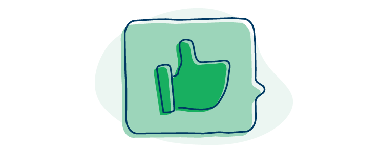 illustration of a chat bubble with a thumbs up inside