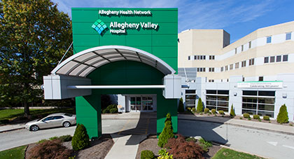 image of the main entrance of Allegheny Valley Hosptial
