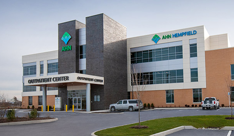 image of the exterior of AHN Hempfield Cancer Institute