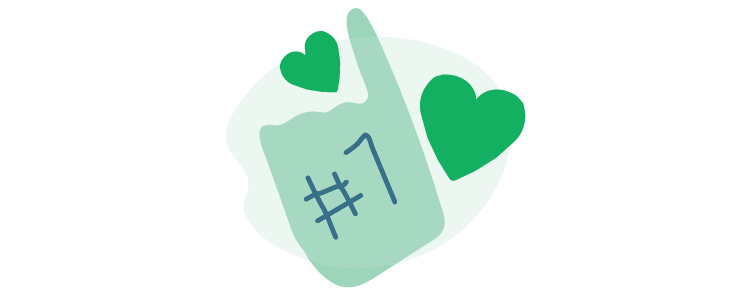 illustration of #1 foam finger and hearts