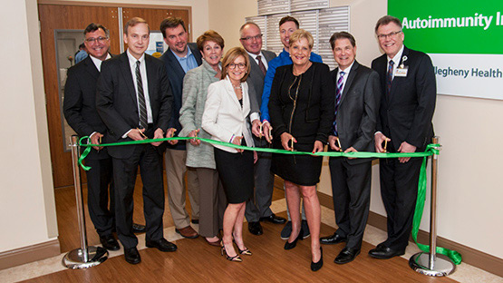 image of the ribbon cutting ceremony for the AHN Autoimmunity Institute