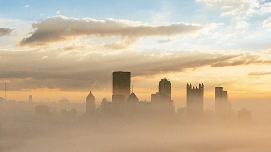 image of foggy Pittsburgh skyline