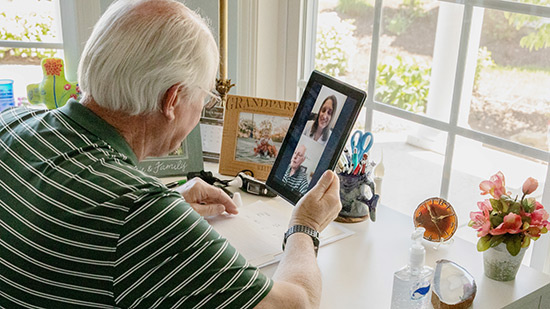 Man on a telehealth video visit